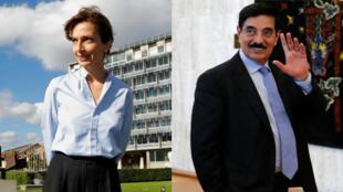 La francesa Audrey Azoulay (izquierda) y el catarí Hamad bin Abdulaziz al-Kawari (derecha), los candidatos finalistas para elección de la dirección general de Unesco.
