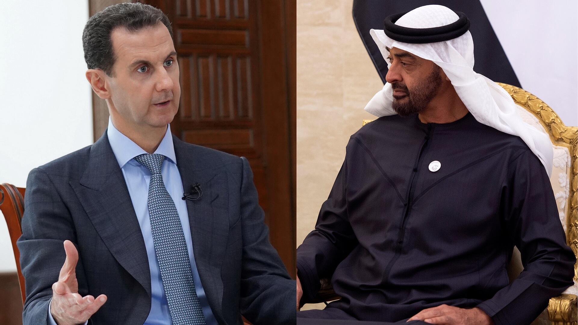 الرئيس السوري بشار الأسد وولي عهد أبو ظبي محمد بن زايد آل نهيان.