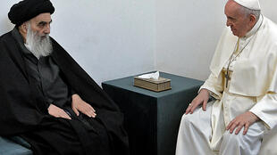 Pope Francis meeting top Shiite cleric Grand Ayatollah Ali al-Sistani, in the Iraqi shine city of Najaf, March 6, 2021.