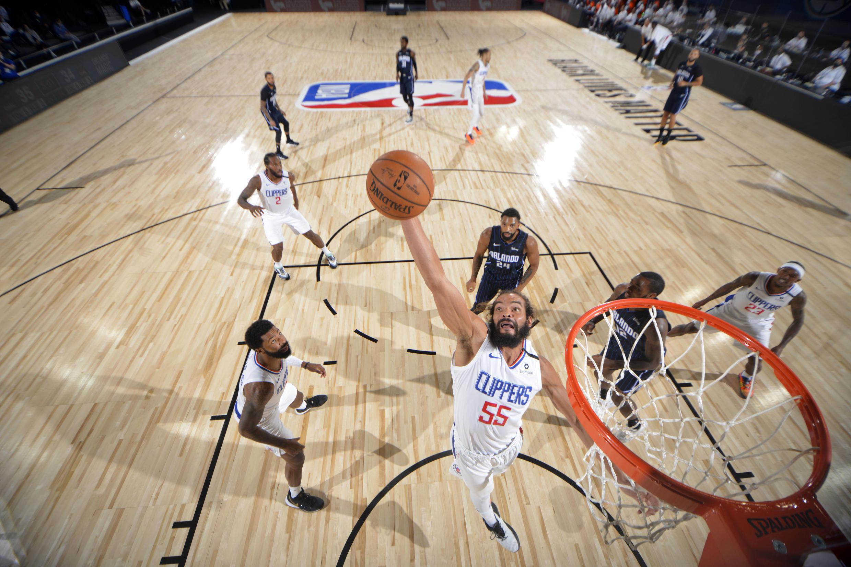 Joakim Noah sous le maillot des Los Angeles Clippers, le 22 juillet 2020, lors d'un match d'entraînement.