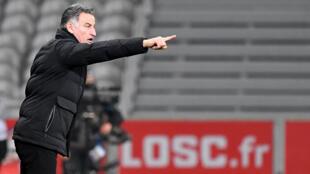 L'entraîneur de Lille, Christophe Galtier, lors du match de Ligue 1 à domicile face à Dijon, le 31 janvier 2021