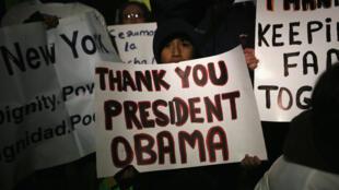 Des associations de défense de sans-papiers ont organisé une manifestation à Washington. pour remercier le président Obama