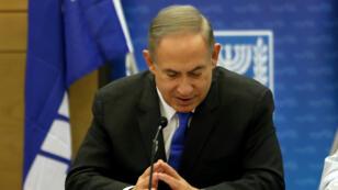 Benjamin Netanyahou, le 2 janvier 2017, à la Knesset, face aux membres du Likoud.