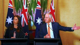 Primer Ministro de Australia, Malcolm Turnbull y la Primera Ministra de Nueva Zelanda, Jacinda Ardern en rueda de prensa en Sydney, Australia