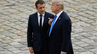 Emmanuel Macron et Donald Trump aux Invalides, le 13 juillet.