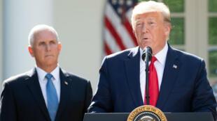 Donald Trump et son vice-président Mike Pence, lors d'un discours à la Maison blanche, le 29 août 2019.