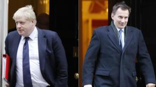 Una combinación de imágenes de archivo, en Londres el 21 de junio de 2019, muestra a Boris Johnson y a Jeremy Hunt, candidatos a liderar el Partido Conservador y a ser el próximo primer ministro de Reino Unido.