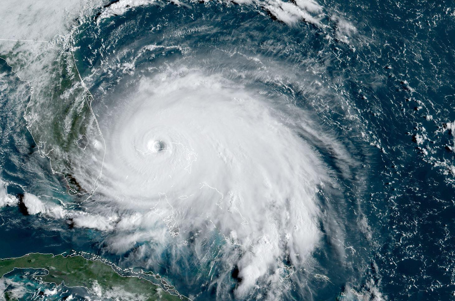 A satellite image from September 2019 is seen of Tropical Storm Dorian