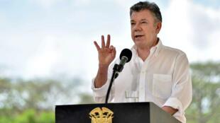 El presidente de Colombia Juan Manuel Santos habla durante una reunión en Cartagena el 4 de enero del 2018