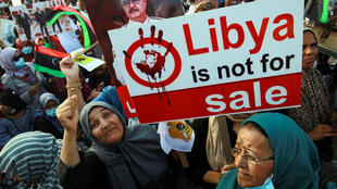 Haftar supporters protested in Benghazi earlier this month against Turkey's involvement in Libya