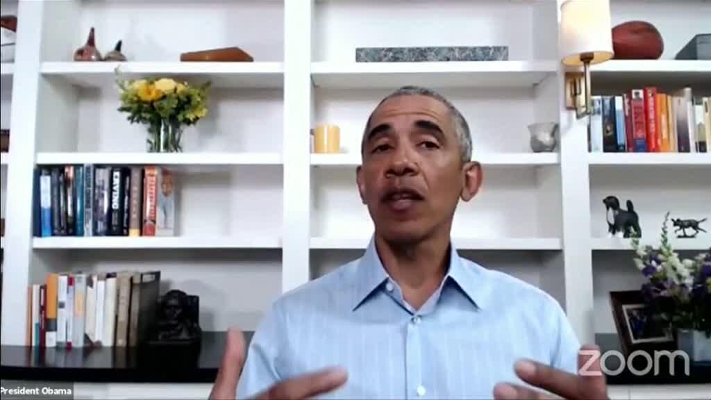Barack Obama s'est exprimé en visioconférence avec des militants mercredi 3 juin 2020.