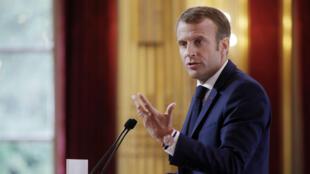 Emmanuel Macron lors de son discours aux ambassadeurs, le 27 août 2018 à l'Élysée.