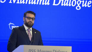 Afghanistan national security adviser Hamdullah Mohib addresses the Manama Dialogue security conference in the Bahraini capital on December 5, 2020