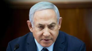 El primer ministro israelí Benjamin Netanyahu en su reunión semanal con el gabinete en la sede de gobierno en Jerusalén, Israel, el 27 de enero de 2019.