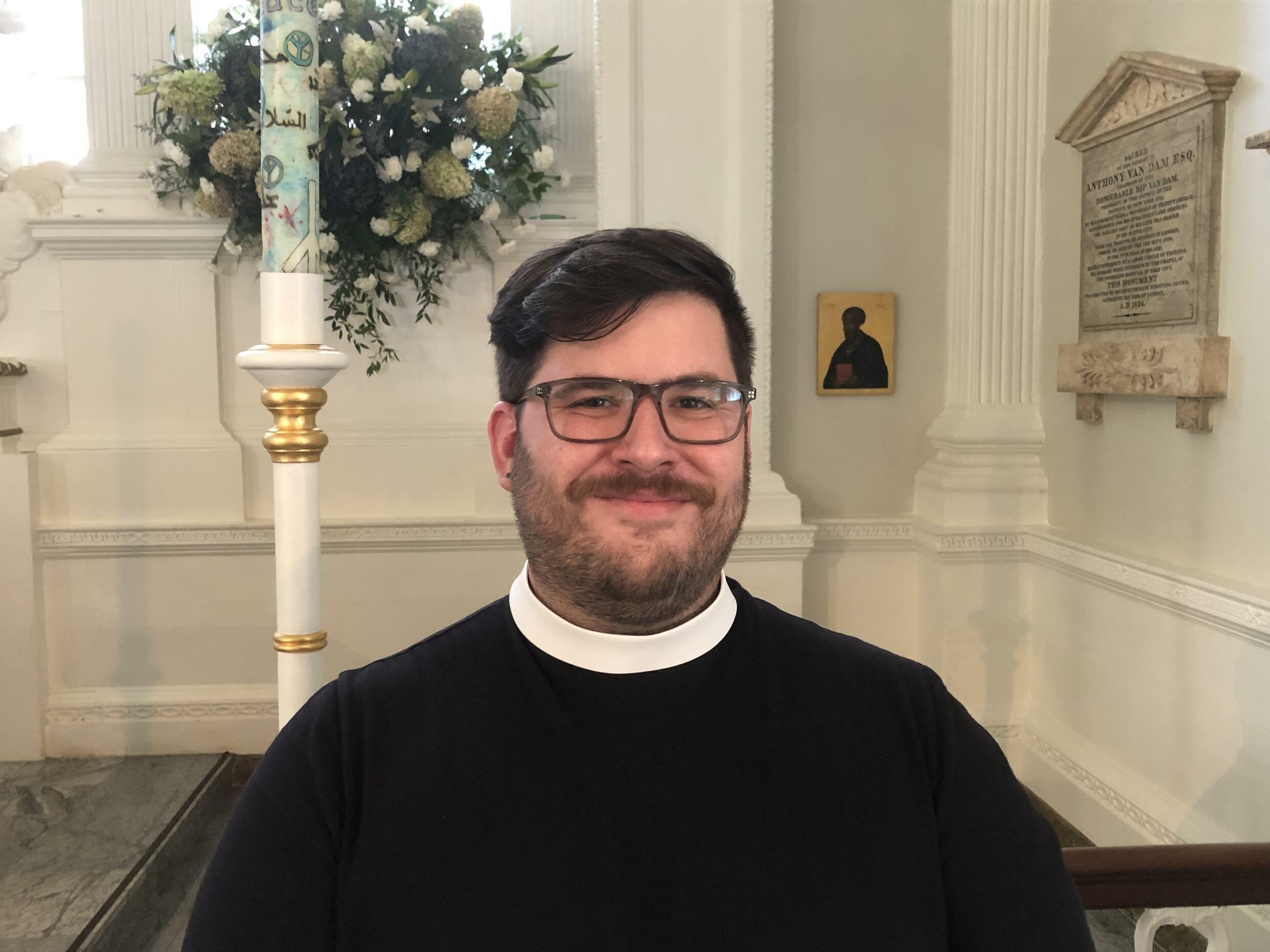 Reverend Matt Welsch, 33, is one of the newest priests at Trinity Church/St. Paul's Chapel.