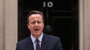 Le Premier ministre britannique David Cameron s'exprime au lendemain de sa victoire.
