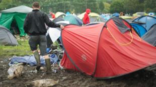 Photo d'illustration dans le camping du festival de Reading, en 2010.