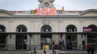 La gare de Carcassonne lundi 23 avril, première des deux journées de mobilisation consécutives.