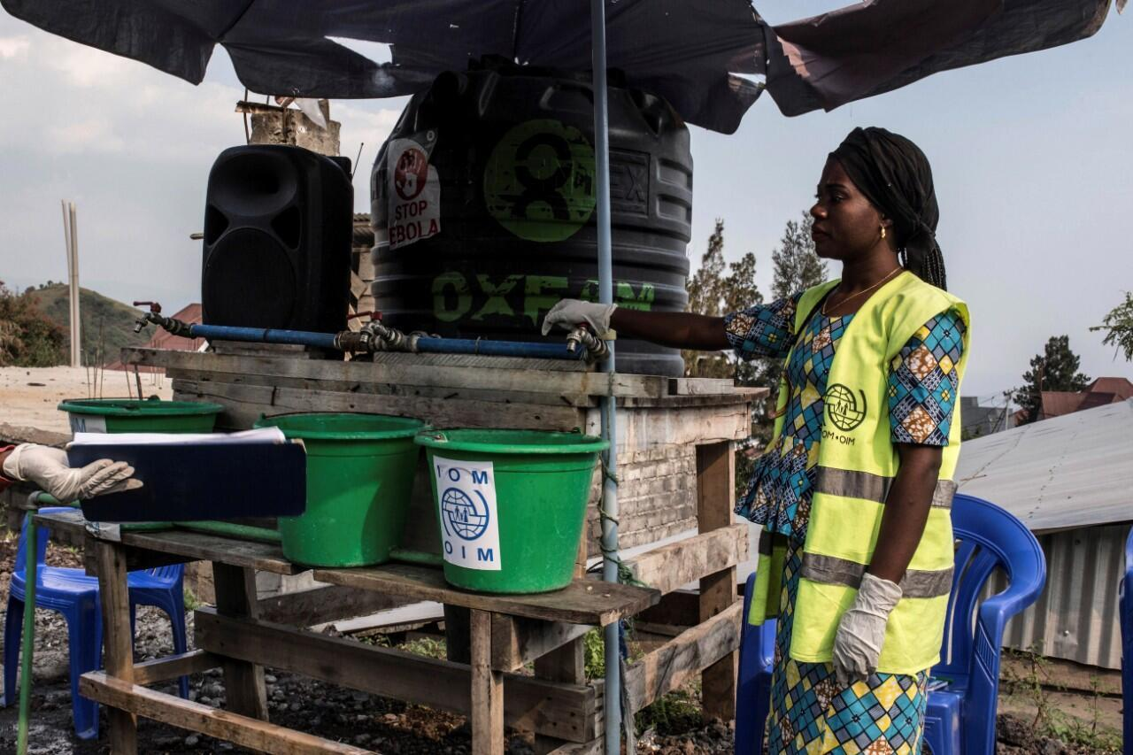 Uno de los puntos de control sanitario habilitados en Goma, en República Democrática del Congo, como medida de precaución para combatir la propagación del ébola, 15 de julio de 2019.