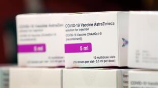 AstraZeneca/Oxford Covid-19 vaccine boxes at the Princess Royal Hospital in Haywards Heath, Britain, on January 2, 2021.