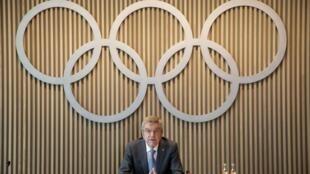 Le chef du CIO, Thomas Bach, le 10 juin 2020 à Lausanne (Suisse)