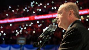 Le président turc Recep Tayyip Erdogan lors de son premier meeting de campagne, le 6 mai 2018 à Istanbul.