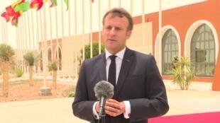 الرئيس الفرنسي إيمانويل ماكرون بنواكشوط في 30 يونيو 2020