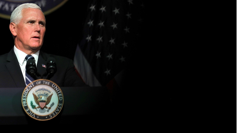 El vicepresidente estadounidense, Mike Pence, anunció el plan de la Administración Trump para crear la Fuerza Espacial de EE. UU. para 2020 durante un discurso en el Pentágono. 9 de agosto de 2018, Arlington, Virginia.