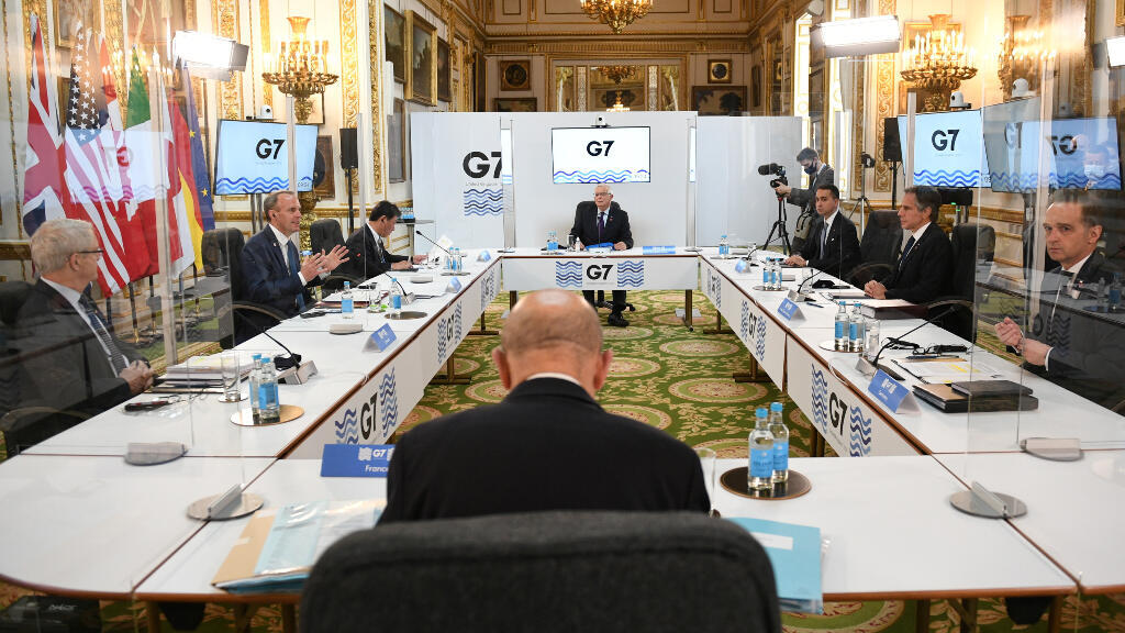 The G7 meeting takes place at the UK headquarters in London