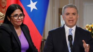 La vicepresidenta de Venezuela, Delcy Rodríguez (izq). El presidente de Colombia, Iván Duque (der).