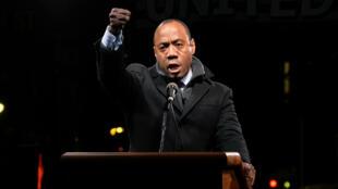Cornell William Brook, de l''Association nationale pour la promotion des gens de couleur, durant un rassemblementant le 19 janvier 2017 à New York.