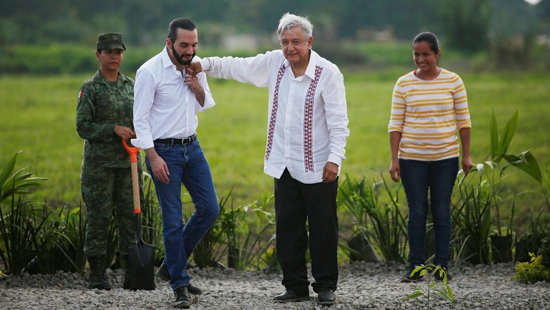 El presidente de El Salvador y el presidente de México siembran árboles como parte del nuevo plan de migración entre México y América Central en Chiapas, México, el 20 de junio de 2019.