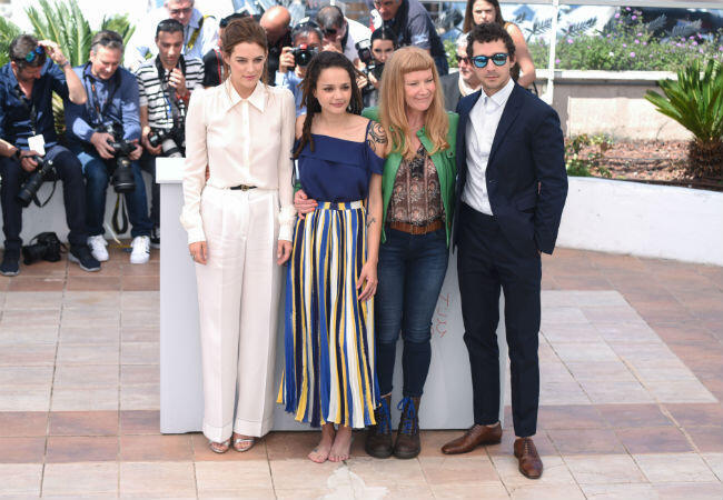 """From left to right: Riley Keough, Sacha Lane, Andrea Arnold and Shia LaBeouf attend the photocall for Arnold's first US-based feature """"American Honey""""."""