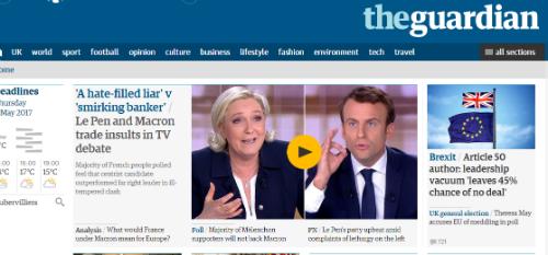 La page d'accueil du site du quotidien The Guardian titre sur les insultes échangées durant le débat entre Macron et Le Pen.
