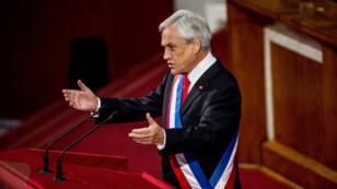 El presidente de Chile, Sebastián Piñera, durante la presentación del primer informe de su mandato ante el Congreso en Valparaíso, Chile, el viernes 1 de junio de 2018.