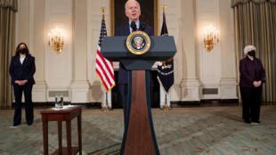Le président Joe Biden lors de sa conférence de presse le 5 février 2021 à la Maison Blanche