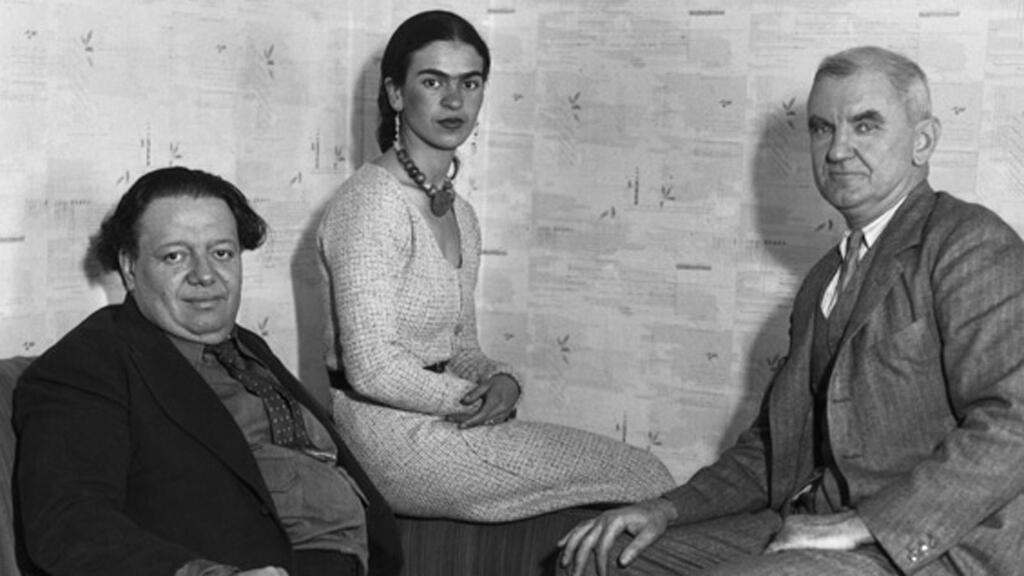 Diego Rivera, Frida Kahlo y Anson Goodyear.