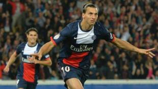 """""""Zlatan"""", auteur du premier but parisien."""