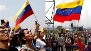 """A la izquierda, asistentes al concierto """"Venezuela Aid Live"""" en Colombia, a la derecha, asistentes al concierto """"Para la Guerra Nada"""" en territorio venezolano el 22 de febrero de 2019."""