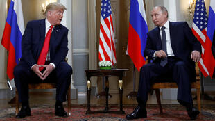 El presidente Donald Trump y su homólogo ruso Vladímir Putin, durante su reunión en Helsinki. 16 de julio de 2018.