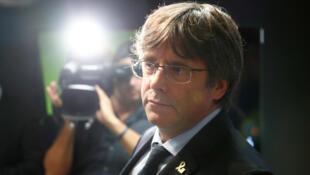Le leader indépendantistes Carles Puigdemont lors d'une conférence de presse le 14 octobre à Bruxelles.