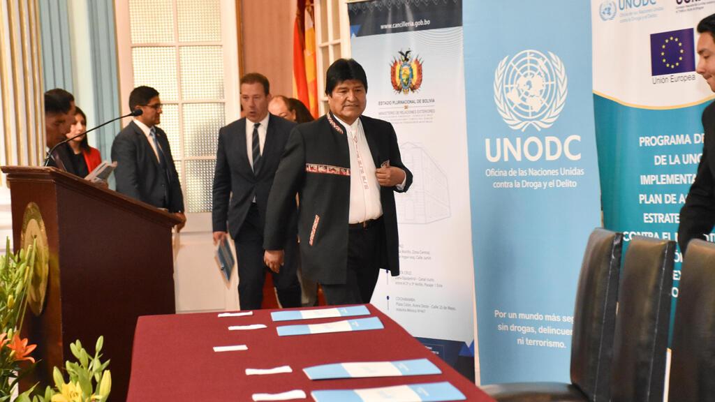 El presidente de Bolivia, Evo Morales, asiste al acto de presentación del informe sobre la reducción de los cultivos de coca.