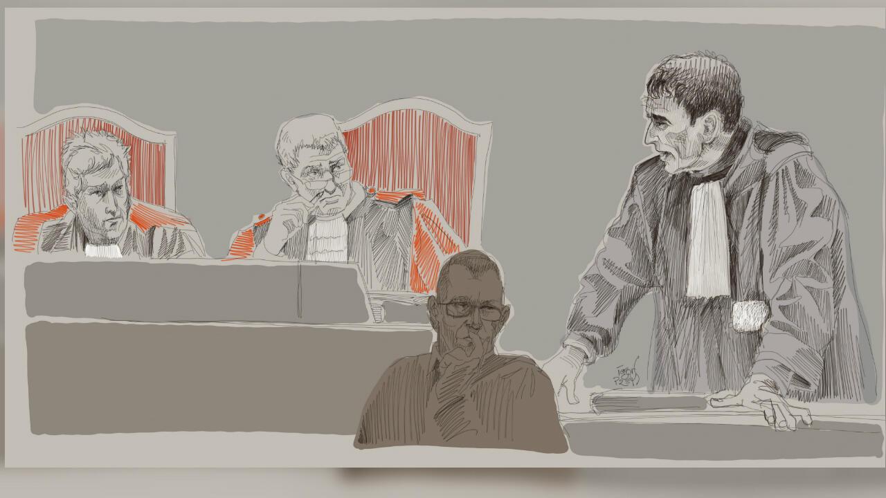 Un boceto muestra al abogado Sebastien Courtoy, quien defiende a Mehdi Nemmouche en el juicio en el que está acusado de asesinar a tiros cuatro personas en el Museo Judío de Bélgica. Palacio de Justicia de Bruselas, Bélgica, el 28 de febrero de 2019.