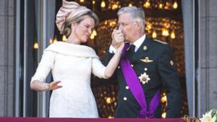 Le prince Philippe (à droite) et la reine Mathilde