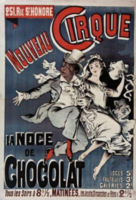 """Affiche de la """"Noce de Chocolat"""", par Alfred Choubrac, imprimerie Emile Levy, 1888."""