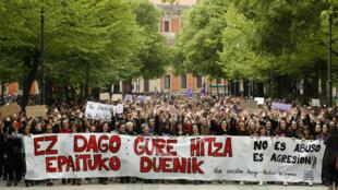 Troisième jour de manifestation à Pampelune, dans le nord de l'Espagne, samedi 27 avril 2018.