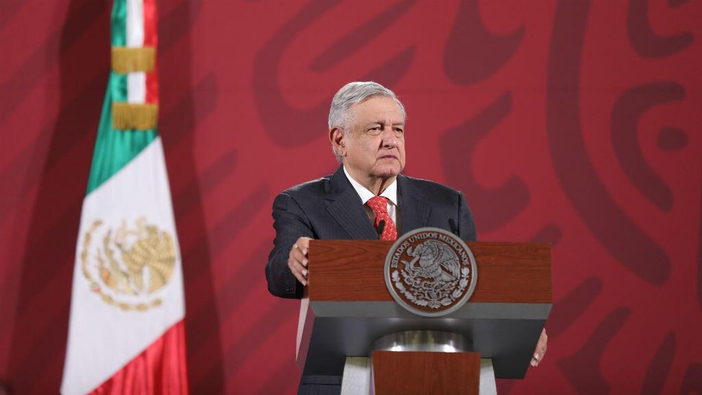 El presidente de México, Andrés Manuel López Obrador, ofrece una rueda de prensa matutina en el Palacio Nacional de Ciudad de México, México, el 11 de mayo de 2020.