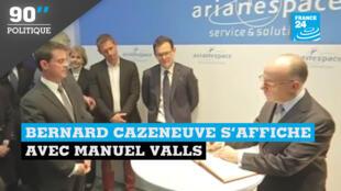 Bernard Cazeneuve et Manuel Valls ont visité le siège d'Arianespace lundi 9 janvier 2017.