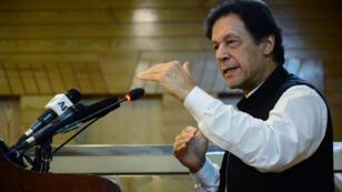 رئيس الوزراء الباكستاني عمران خان خلال كلمة ألقاها بمناسبة الذكرى 72 لاستقلال باكستان. مظفر آباد/ 14 أغسطس/آب 2019