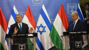 Le premier ministre hongrois Viktor Orban et son homologue israélien Benjamin Netanyahou, le 19 juillet 2018, à Jérusalem.